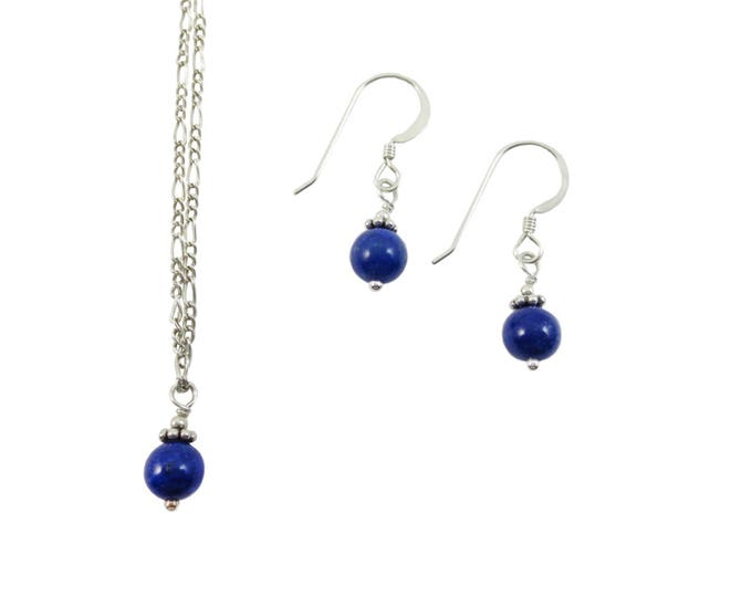 Lapis Lazuli 6 mm Drop Jewelry Set