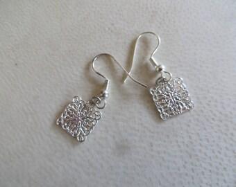 metal square earrings
