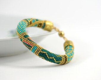 Beaded Crocheted Bracelet Bead Crochet Rope Bracelet Samarqand Seed Bead Bracelet Turquoise 24K Gold Geometric Beadwork Jewelry Must Have