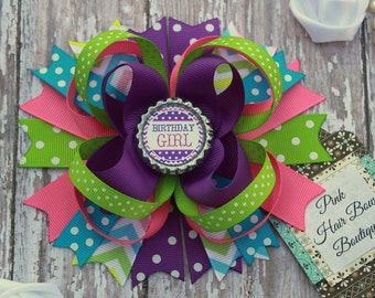 Birthday hair bow , Birthday bow , birthday girl , first birthday hair bow , birthday girl hair bow , birthday boutique hair bow