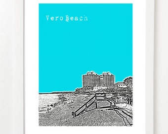 Vero Beach Florida Art Poster  - Vero Beach City Skyline Print