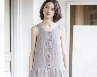 Front button  washed linen jumpsuit / Washed loose linen overall / linen romper available in 34 colors