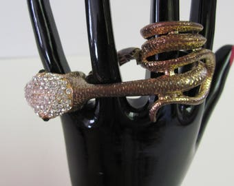 THREE FINGER RING, Serpent Ring, Snake Jewelry, Belly Dance Snake Ring, Gothic Snake Ring, Rhinestone Three Finger Snake Witch Ring, Snake