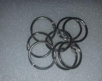 Lot de 8 anneaux de porte-clés mousqueton argenté