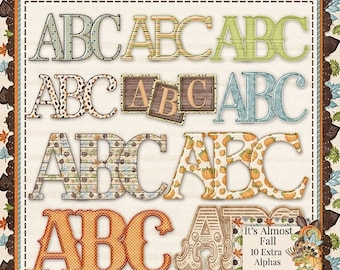 On Sale 50% Off It's Almost Fall Digitla Scrapbooking Kit Alphabets