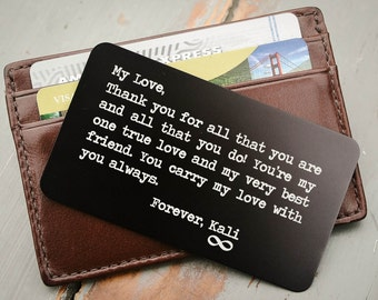 Personalized Wallet Card, Metal Wallet Insert, Custom Engraved Wallet Card, Stocking Stuffer, Valentine Day, Anniversary Gift for Him