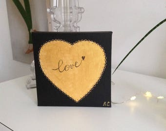 Decorative heart painting in acrylic paint