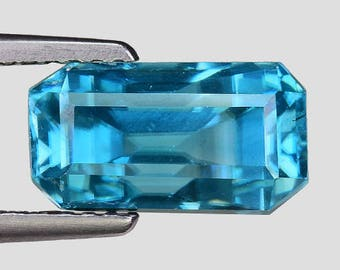 "4.99cts Blue Emerald Cut Blue Zircon Natural Loose Gemstone ""SEE VIDEO"""