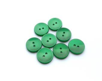 8 Flat Iridescent Green Plastic Buttons, 18mm
