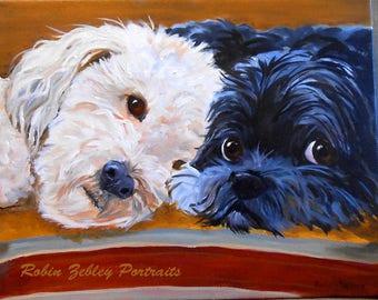 Custom Pet Portrait Painting, Original Fine Art Oils on Canvas Dog Portrait, Dog Family Portrait Animal Art