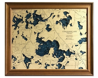Tomahawk Lake Dimensional Wood Carved Depth Contour Map - Customize With Your Home Information