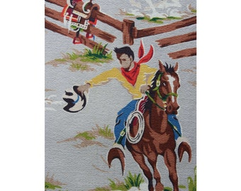 50s Authentic Barkcloth - 1 Yard x 38 Inches Wide - 1950s Cowboy Western Novelty Print Cotton - Bucking Horses - Rare & Wonderful - 46645