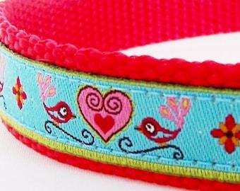 Hearts and Birdies Dog Collar