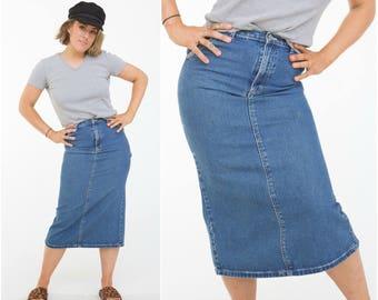 B.U.M Equipment Denim Skirt / 3/4 Length / Size M