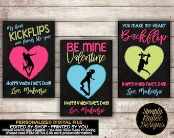 Girls Skateboarding Valentine's Day Card