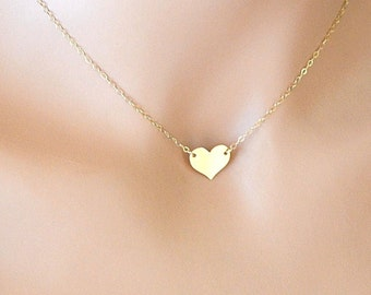 Gold Heart Necklace, Love Necklace, 14kt Gold Filled Chain Necklace, Heart Necklace, Bridal Jewelry, Everyday Simple Jewelry
