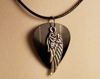 Vinyl record guitar pick Necklace Wings and Rose-