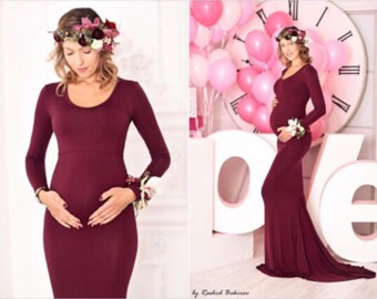 Burgundy Jersey Long Sleeves Slim fit Maternity Gown, Maternity Dress, Maternity Wedding Gown