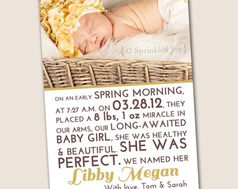 Birth Story - Birth Announcement, 4x6, 5x7, 6x7.5 Fully Customizable Digital File