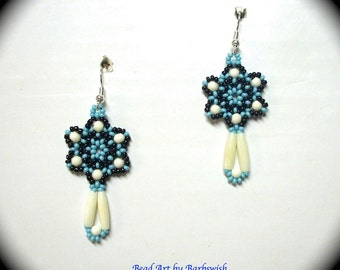 Marked Down on Sale White Bone and Turquoise Long Dangle Earrings for Everyday Wear Native Style