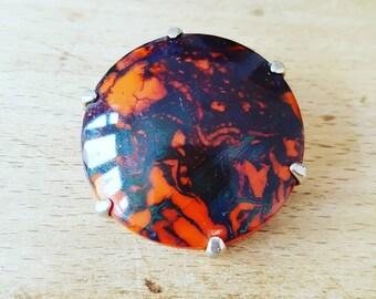 Vintage brooche - vintage jewellery- orange and black