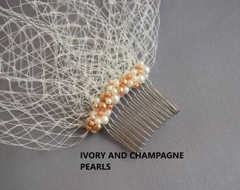 Birdcage Veil, Pearl Hair Comb, Blusher Veil, Bridal Veil, Bridal Head Piece, Pearl Hair Piece, Vintage Veil, Bridal Headpiece, Hair Piece