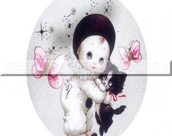1 cabochon 30mm x 40mm glass, Little Pierrot