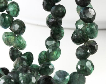 Green Labradorite Faceted Onion Briolettes Emerald Green Gems 7mm to 7.6mm x 6mm to 7mm Your Choice  2, 4, 6, 8 or 10 Faceted Rondelles,  KJ