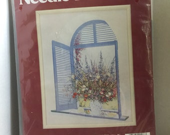 Vintage flowers in arched window crewel kit