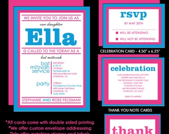 Hot Pink and Turquoise Blue Bat Mitzvah Invitations
