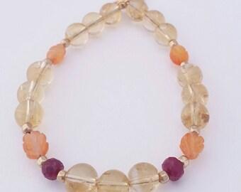 Citrine, Ruby, and Carnelian Healing Stones Bracelet