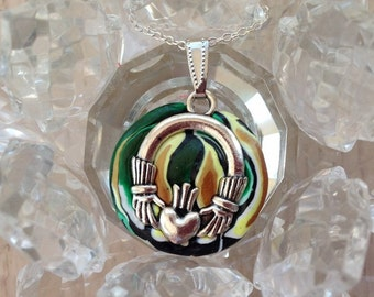 Handmade Silver and Clay Green and Gold Claddagh Charm