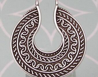 Boho Ethnic Round Pendant, Antique Silver, AS442