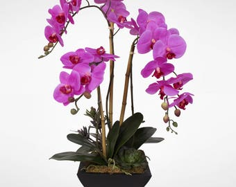 Real Touch Phalaenopsis Silk Orchid Arrangement in a Metal Pot #69