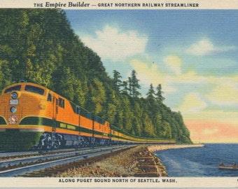 Empire Builder Great Northern Railway streamliner service c 1947 vintage postcard