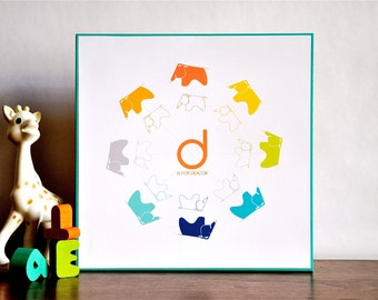 Eames Elephant Monogram Name Art Print - 10x10 wood mounted mid century modern nursery wall art - orange teal children decor