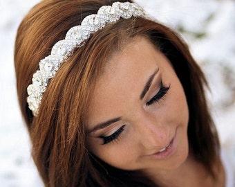 Bridal Hair Piece, Bridal Headband, Rhinestone Headband, Wedding Hair Accessory, Bridal Accessories- RACHEL