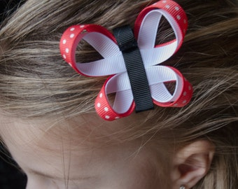 Hair Bow - Coral and White Butterfly Ribbon Sculpture