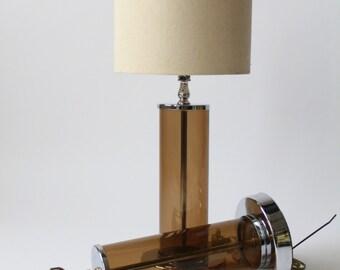 PAIR of  SMOKED ACRYLIC table lamp vintage mid century 1970 era