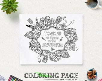 Coloring Page Printable Verse Today is going to be Awesome Instant Download Printable Coloring Pages AntiStress Art Therapy Coloring Book