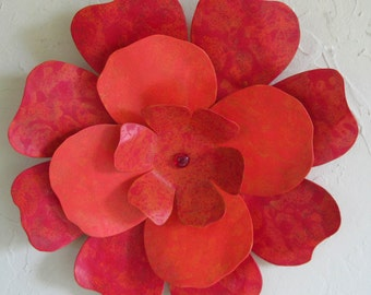 Flower Art Sculpture Recycled Metal Wall Hanging Red Orange Hibiscus Indoor Outdoor Floral Design 13 inches