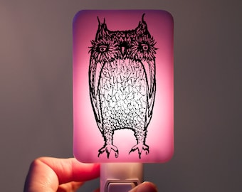 Owl Nightlight of Fused Glass in Lilac Pink Lavender - Large Funny Owl by Happy Owl - night light Halloween Decor Owl