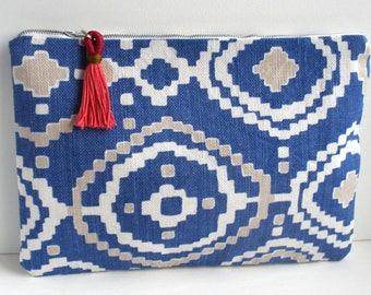 Aztec Pouch, Blue Zipper Pouch, Geometric Pouch, Aztec Bag, Project Pouch, Gift for Her, Arty Pouch, Blue Pouch, Tassle Pouch, Blue Pattern