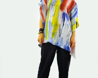 New collection/Maxi silk blouse/Loose silk 100% tunic/Hand painted silk top/Painting silk blouse/Extravagant  tunic/Painting on hand/T1431