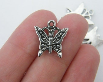 10 Butterfly charms antique silver tone A337