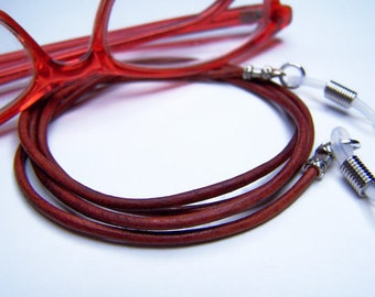 Antique Red, Eyeglass Cord, 2mm Black, Brown, Antique Tan or Blue Leather, 24-36 inches Eyeglass Necklace Holder