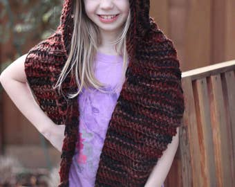 Knitted Hooded Scarf, Thick Knit Scarf and pixie Hood, Girls scarf with Hood