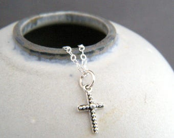 """tiny sterling silver filigree cross necklace small faith charm christian pendant religious jewelry confirmation first communion gift 3/8"""""""