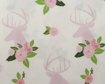 custom baby bib ~ pink floral deer head ~ chic couture ~ baby accessories ~ custom made baby bib from lillybelle designs
