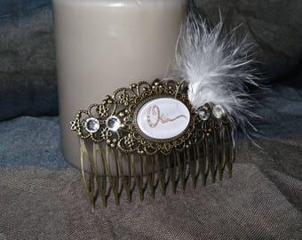 Bridal hair comb, metal bronze